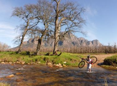 river crossing with a mountain bike